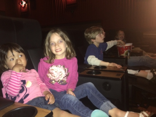 """The night before Addy's birthday we went to 3 different theaters! The 1st was showing the movie in 3D, which Addy hates, the second was way overcrowded because of some Tuesday deal, back to the first. . . which was just the wrong theater, and finally, at 8:20, we sat down in a completely empty theater with big lounge chairs and enjoyed our movie, """"Home."""" It was a night to remember!"""