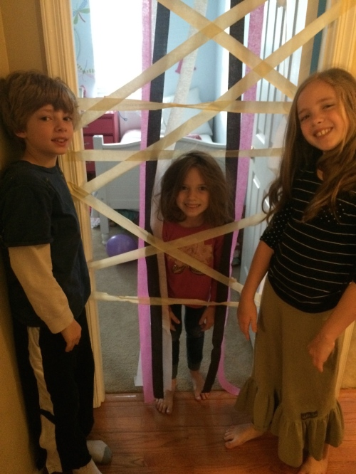 Ella and Siah decorated the house, and taped Addy in her room overnight.