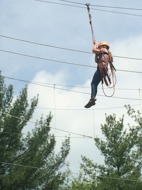 Ella conquered her fears and zip lined!