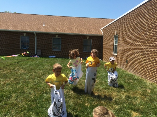 Adeline in the sack race.